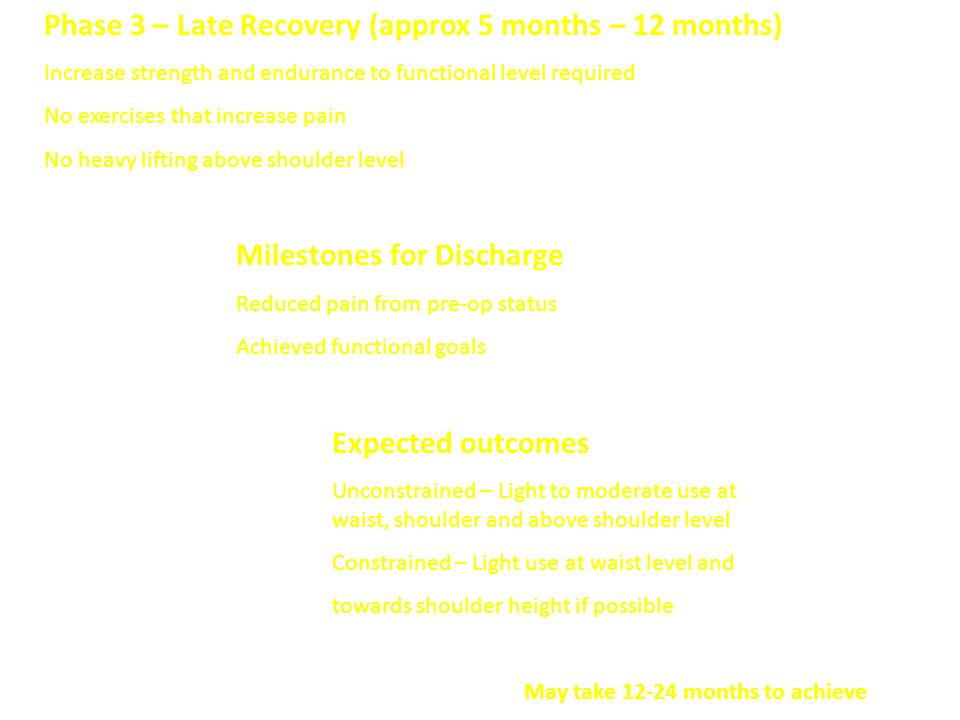 Phase 3 – Late Recovery (approx 5 months – 12 months)
