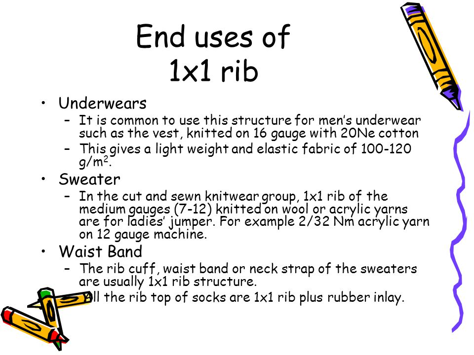 End uses of 1x1 rib Underwears Sweater Waist Band