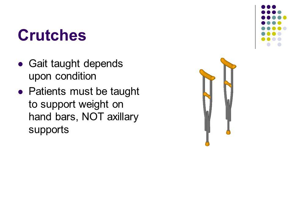 Crutches Gait taught depends upon condition
