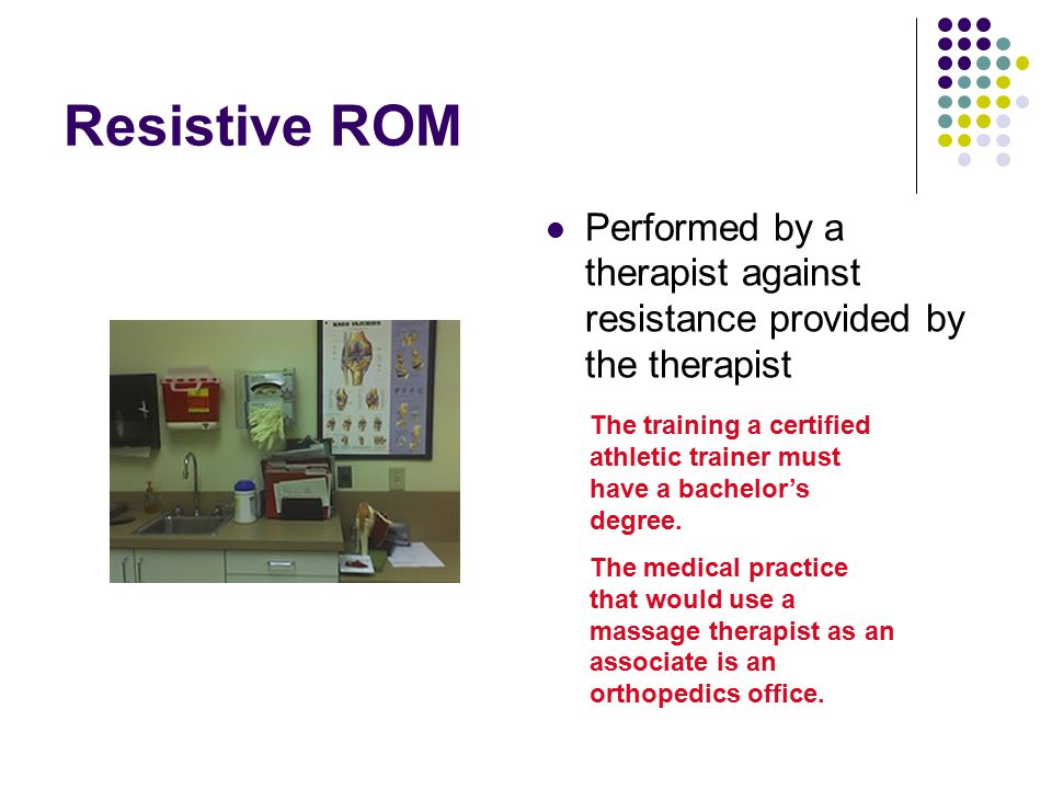Resistive ROM Performed by a therapist against resistance provided by the therapist.