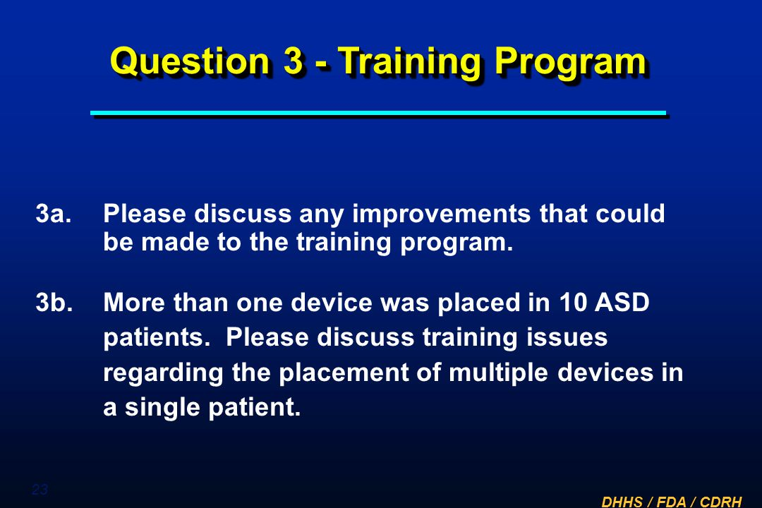 Question 3 - Training Program