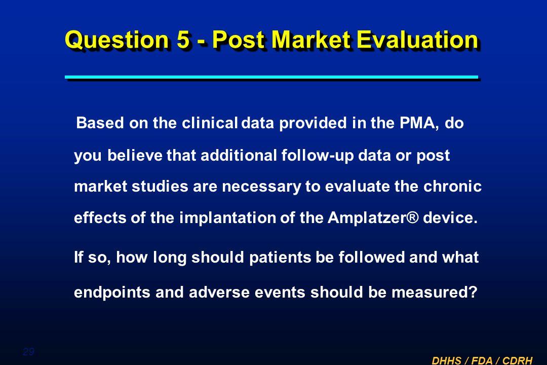 Question 5 - Post Market Evaluation