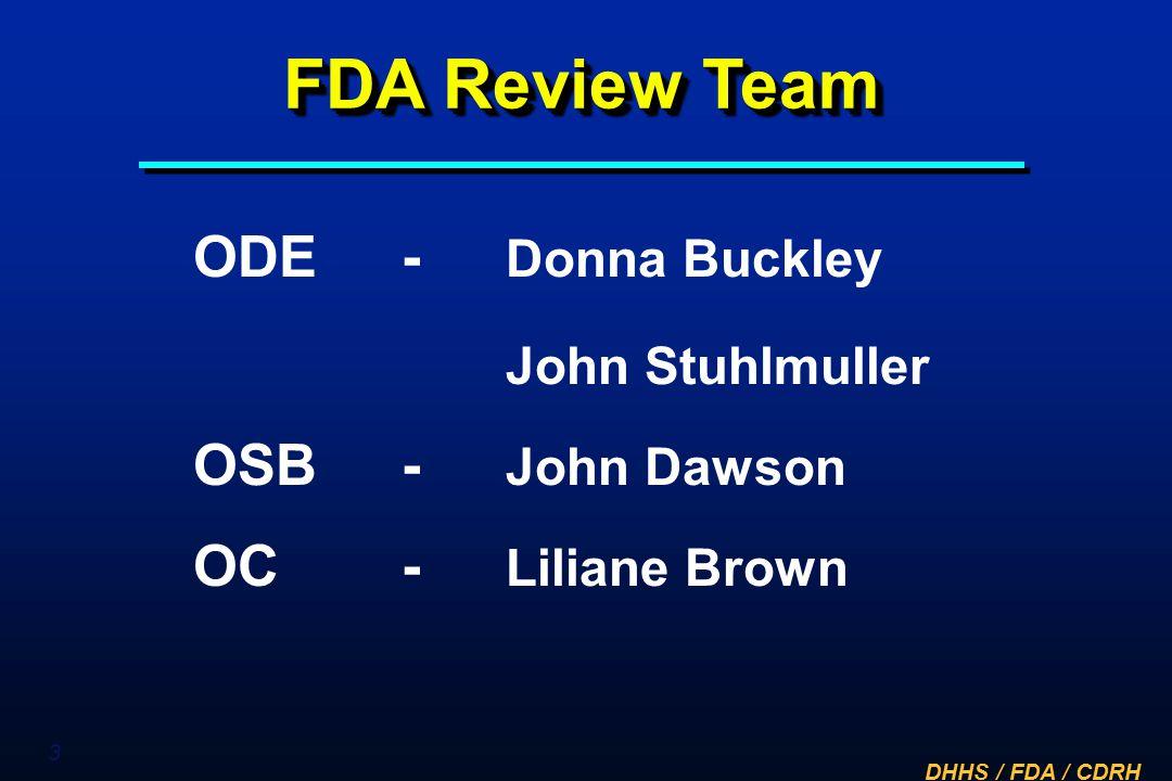 FDA Review Team ODE - Donna Buckley John Stuhlmuller OSB - John Dawson