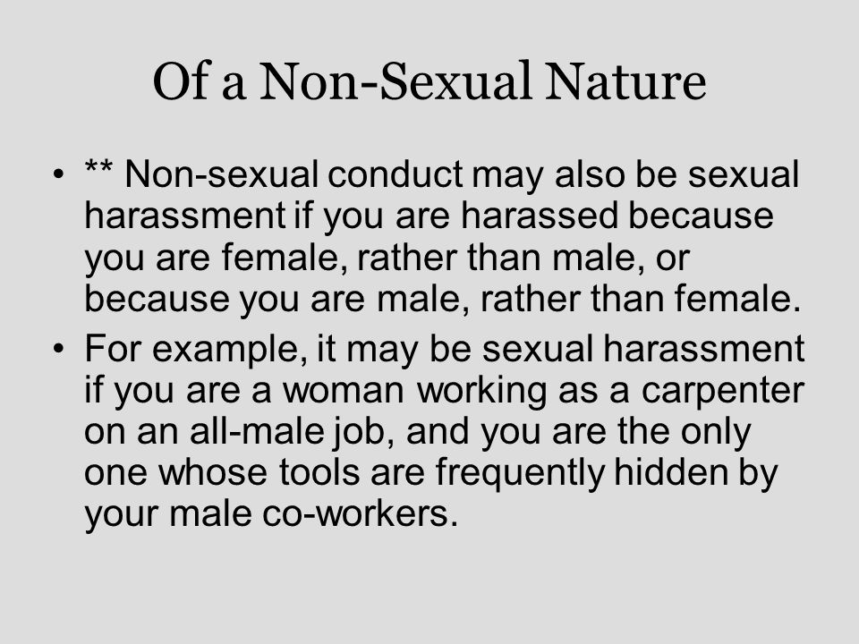 Of a Non-Sexual Nature