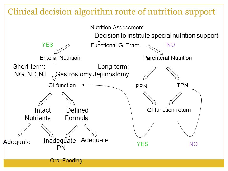 Clinical decision algorithm route of nutrition support
