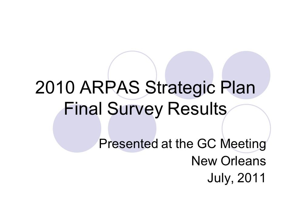 2010 ARPAS Strategic Plan Final Survey Results