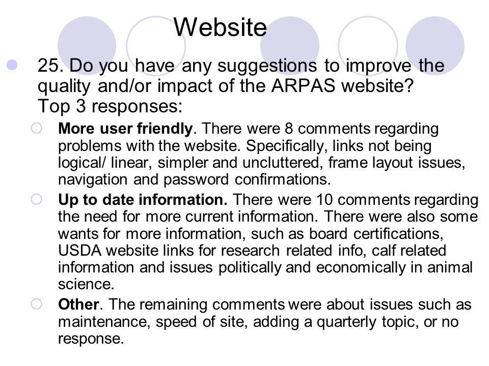 Website 25. Do you have any suggestions to improve the quality and/or impact of the ARPAS website Top 3 responses: