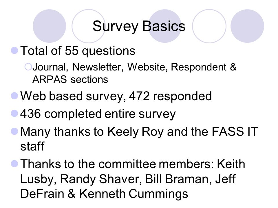 Survey Basics Total of 55 questions Web based survey, 472 responded