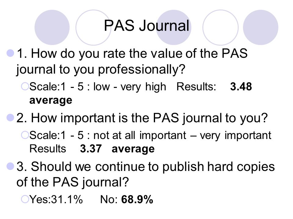 PAS Journal 1. How do you rate the value of the PAS journal to you professionally Scale:1 - 5 : low - very high Results: 3.48 average.