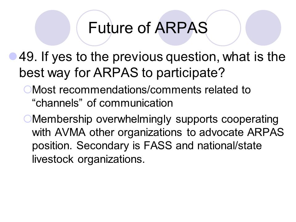 Future of ARPAS 49. If yes to the previous question, what is the best way for ARPAS to participate