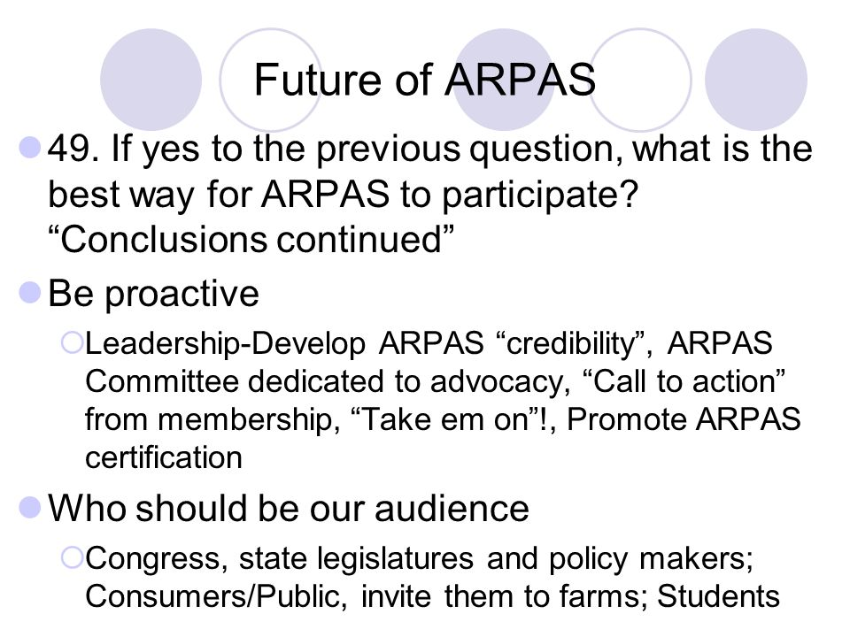 Future of ARPAS 49. If yes to the previous question, what is the best way for ARPAS to participate Conclusions continued
