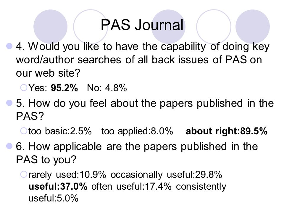 PAS Journal 4. Would you like to have the capability of doing key word/author searches of all back issues of PAS on our web site