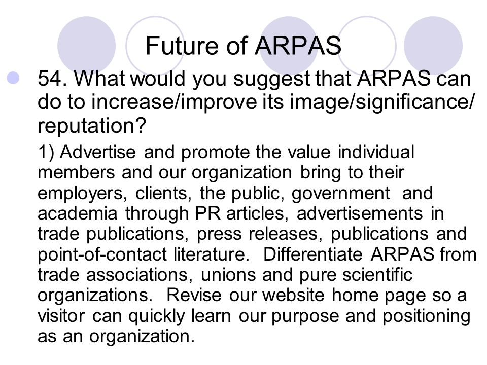 Future of ARPAS 54. What would you suggest that ARPAS can do to increase/improve its image/significance/ reputation