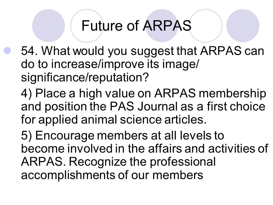 Future of ARPAS 54. What would you suggest that ARPAS can do to increase/improve its image/ significance/reputation