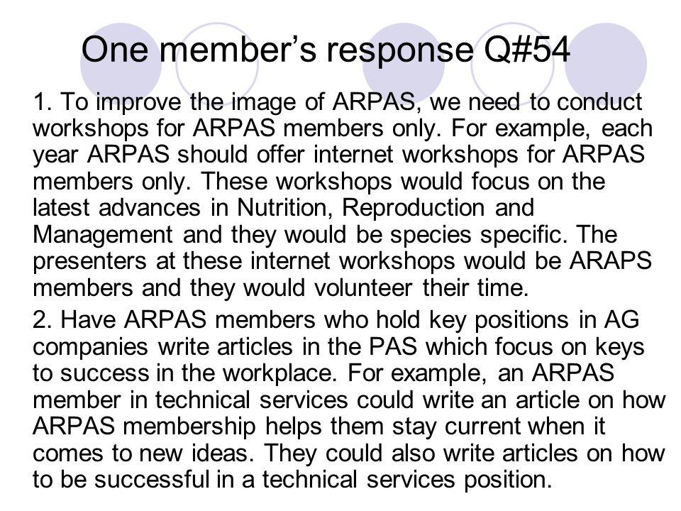 One member's response Q#54