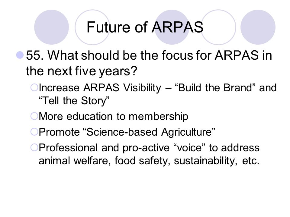 Future of ARPAS 55. What should be the focus for ARPAS in the next five years Increase ARPAS Visibility – Build the Brand and Tell the Story