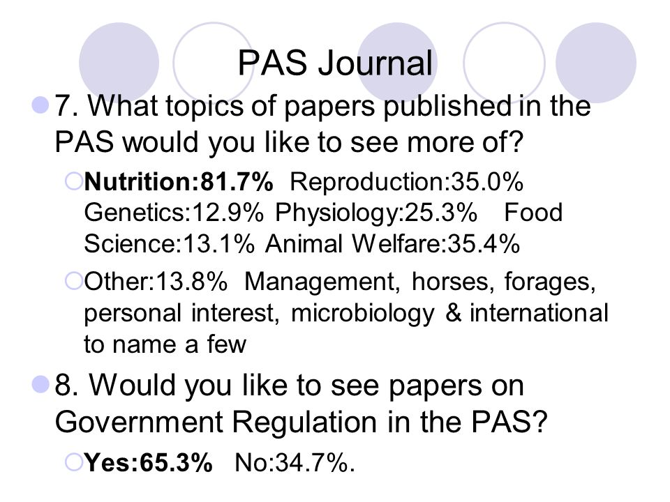 PAS Journal 7. What topics of papers published in the PAS would you like to see more of