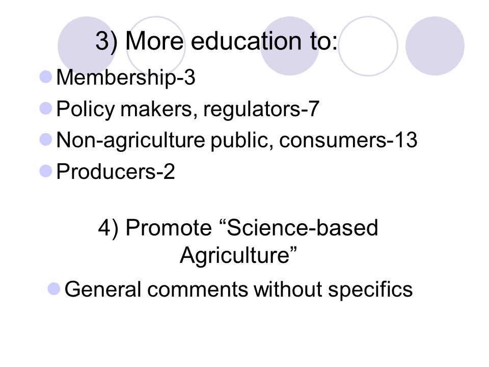 4) Promote Science-based Agriculture