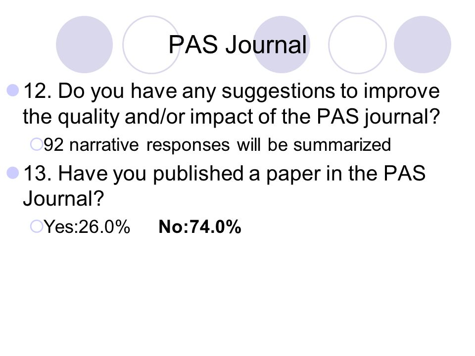 PAS Journal 12. Do you have any suggestions to improve the quality and/or impact of the PAS journal
