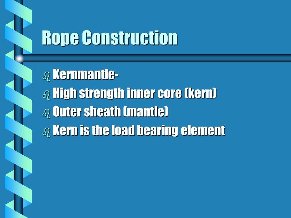 Rope Construction Kernmantle- High strength inner core (kern)