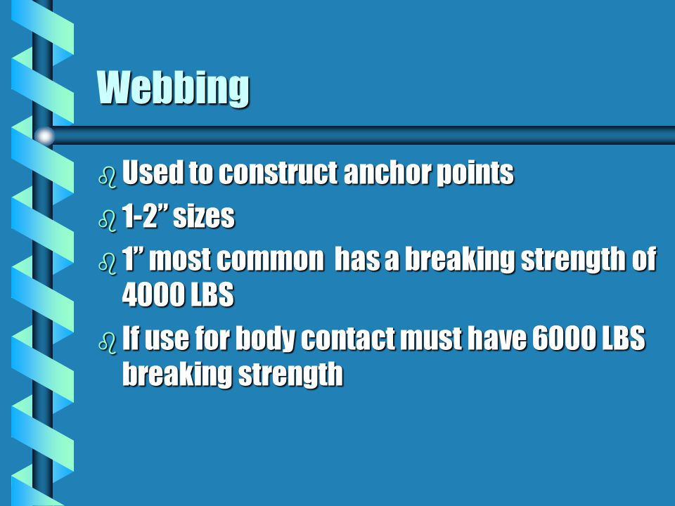Webbing Used to construct anchor points 1-2 sizes