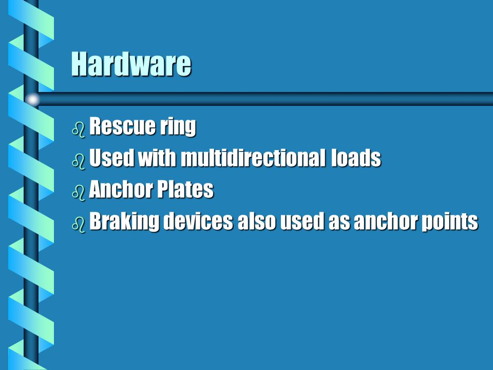 Hardware Rescue ring Used with multidirectional loads Anchor Plates