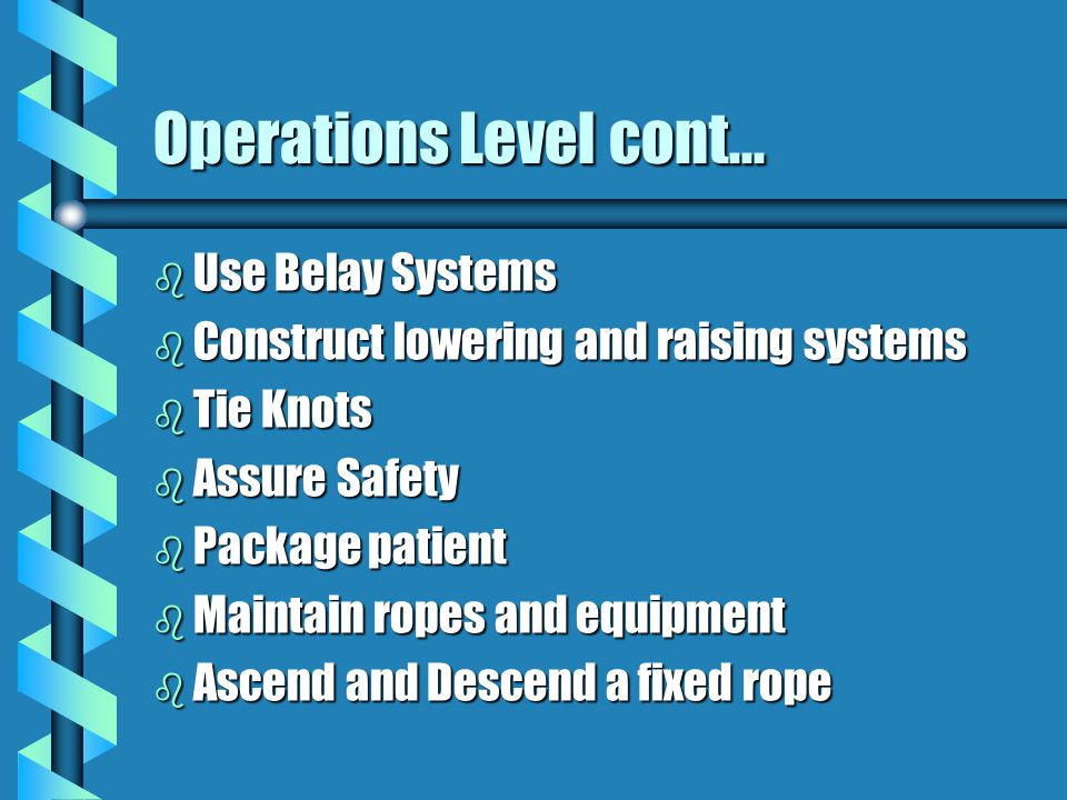 Operations Level cont... Use Belay Systems