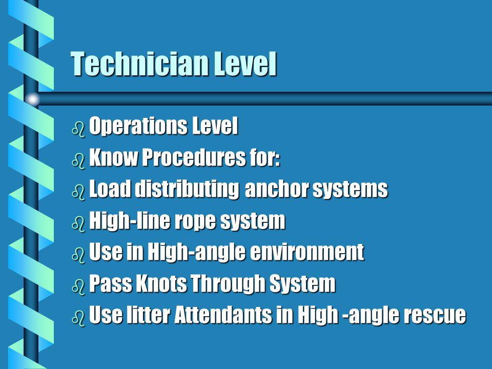 Technician Level Operations Level Know Procedures for: