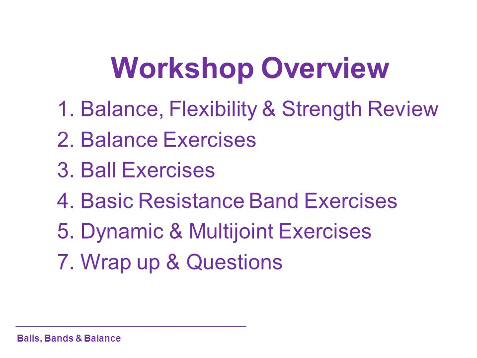 Workshop Overview 1. Balance, Flexibility & Strength Review