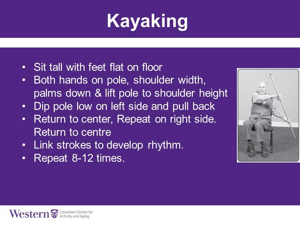 Kayaking Sit tall with feet flat on floor