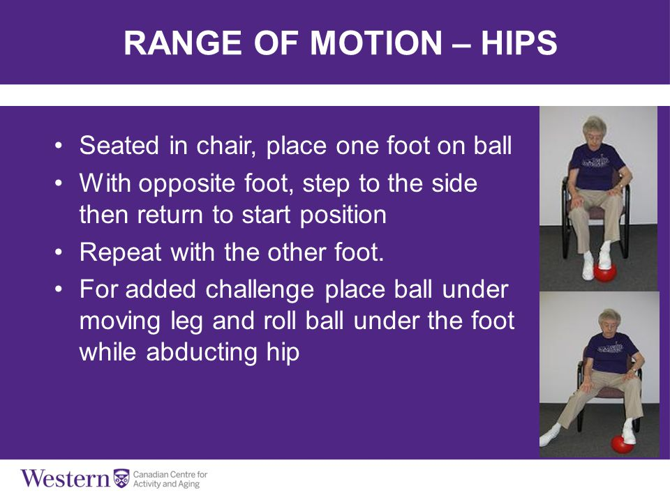RANGE OF MOTION – HIPS Seated in chair, place one foot on ball