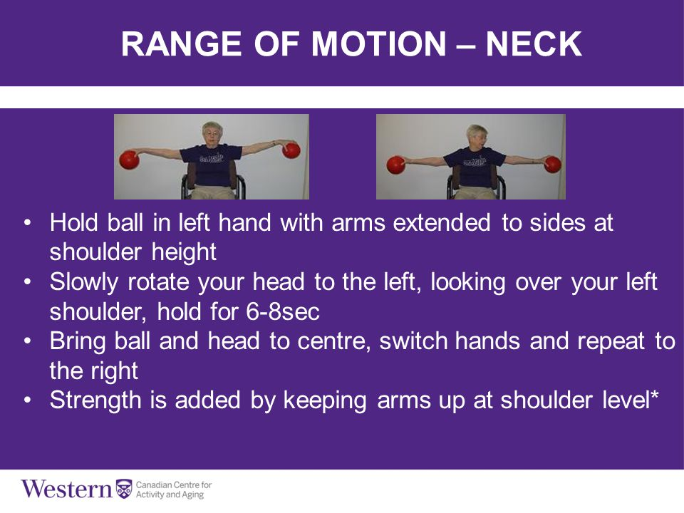 RANGE OF MOTION – NECK Hold ball in left hand with arms extended to sides at shoulder height.