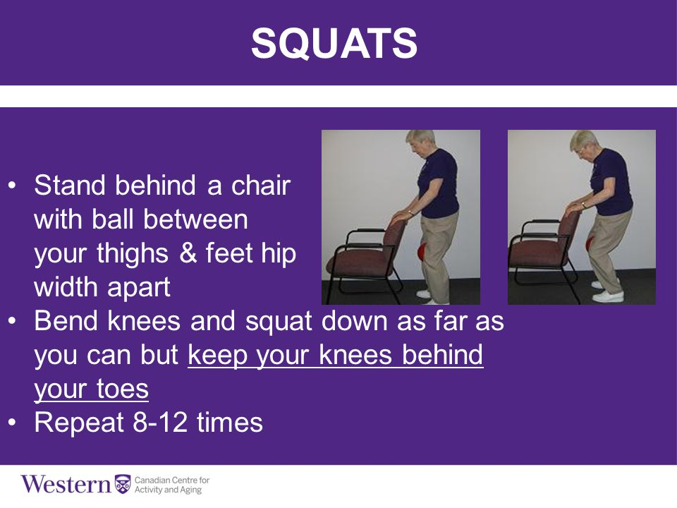 SQUATS Stand behind a chair with ball between your thighs & feet hip