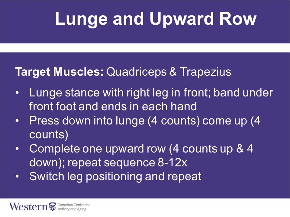 Lunge and Upward Row Target Muscles: Quadriceps & Trapezius