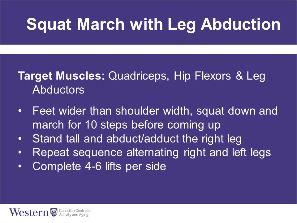 Squat March with Leg Abduction