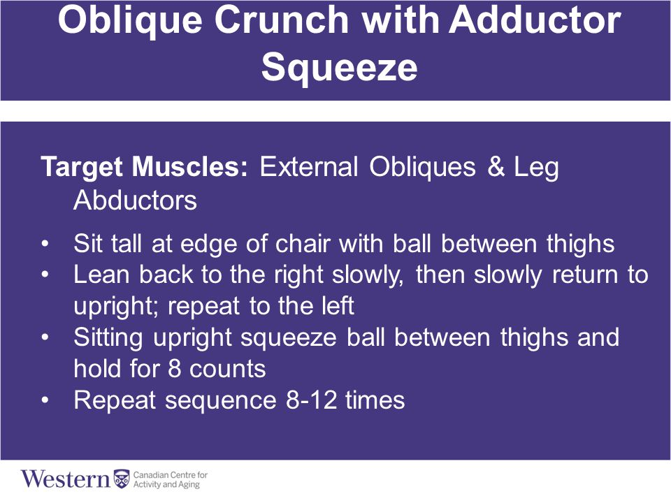 Oblique Crunch with Adductor Squeeze