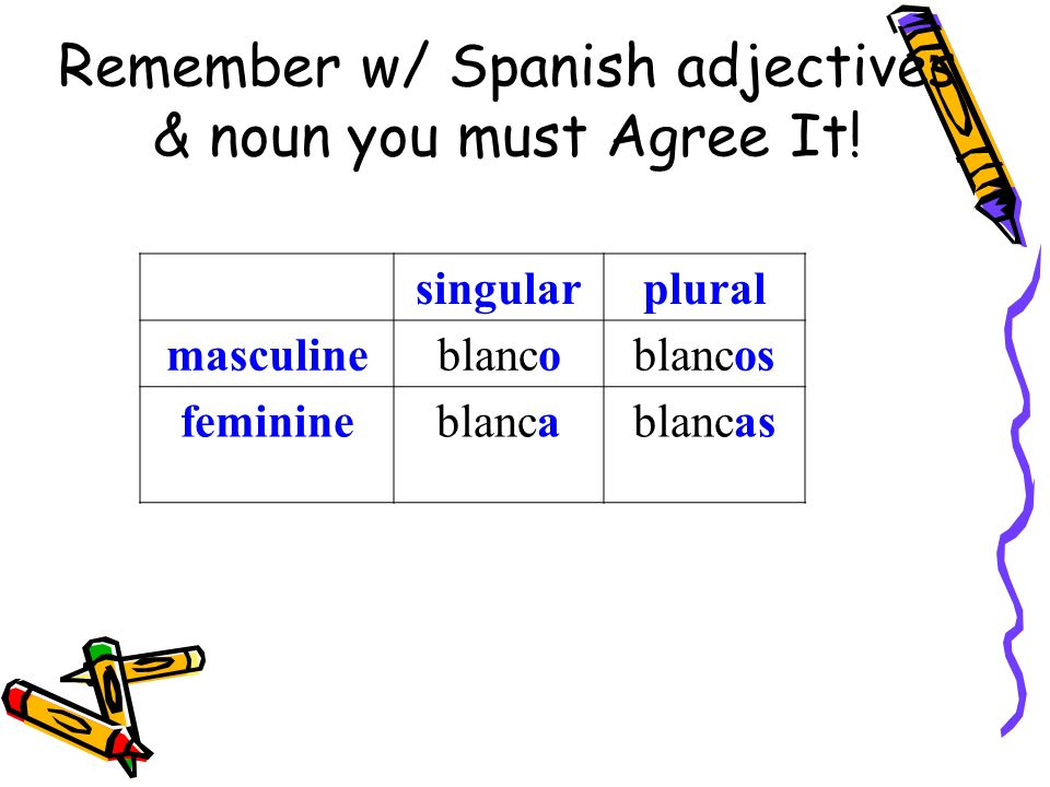 Remember w/ Spanish adjectives & noun you must Agree It!