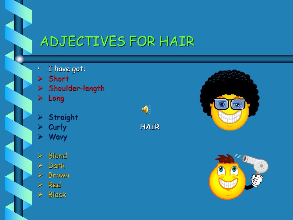 ADJECTIVES FOR HAIR I have got: Short Shoulder-length Long Straight