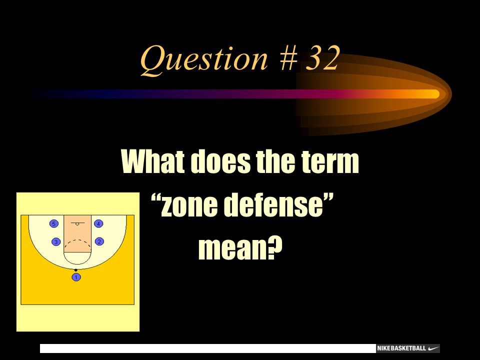 Question # 32 What does the term zone defense mean