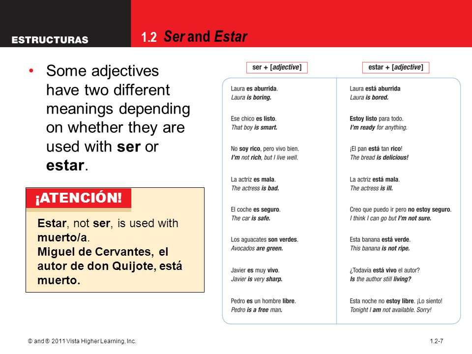 09/28/09 Some adjectives have two different meanings depending on whether they are used with ser or estar.