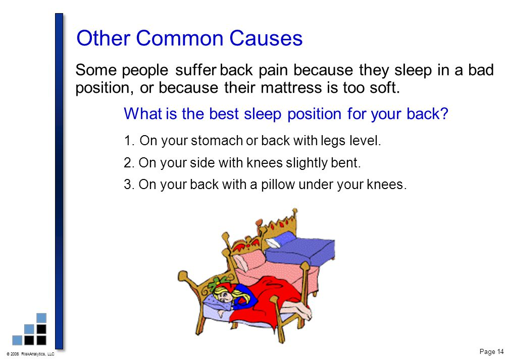 Other Common Causes Some people suffer back pain because they sleep in a bad position, or because their mattress is too soft.