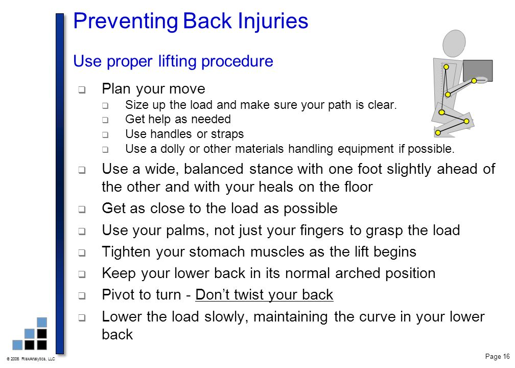 Preventing Back Injuries Use proper lifting procedure