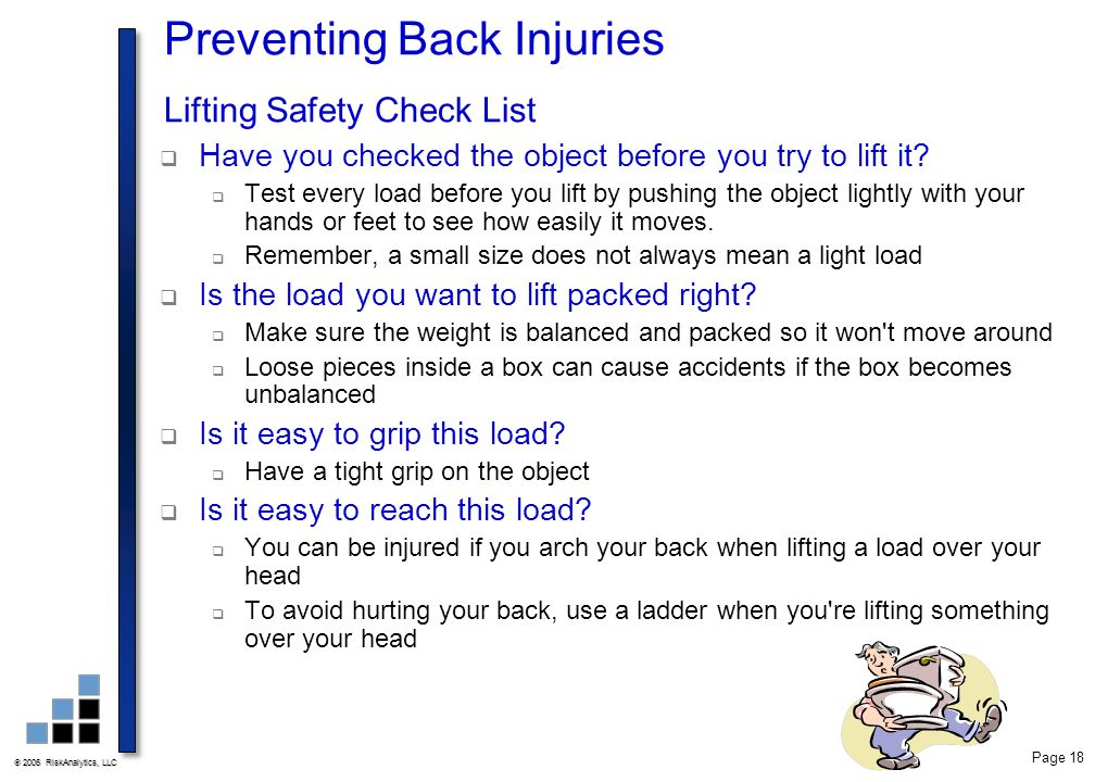 Preventing Back Injuries Lifting Safety Check List