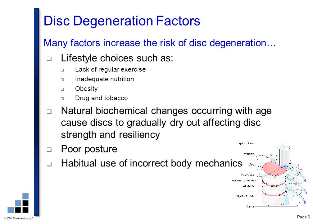 Disc Degeneration Factors Many factors increase the risk of disc degeneration…