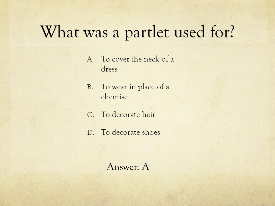 What was a partlet used for