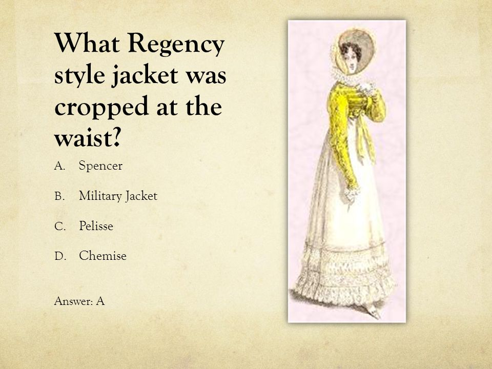 What Regency style jacket was cropped at the waist