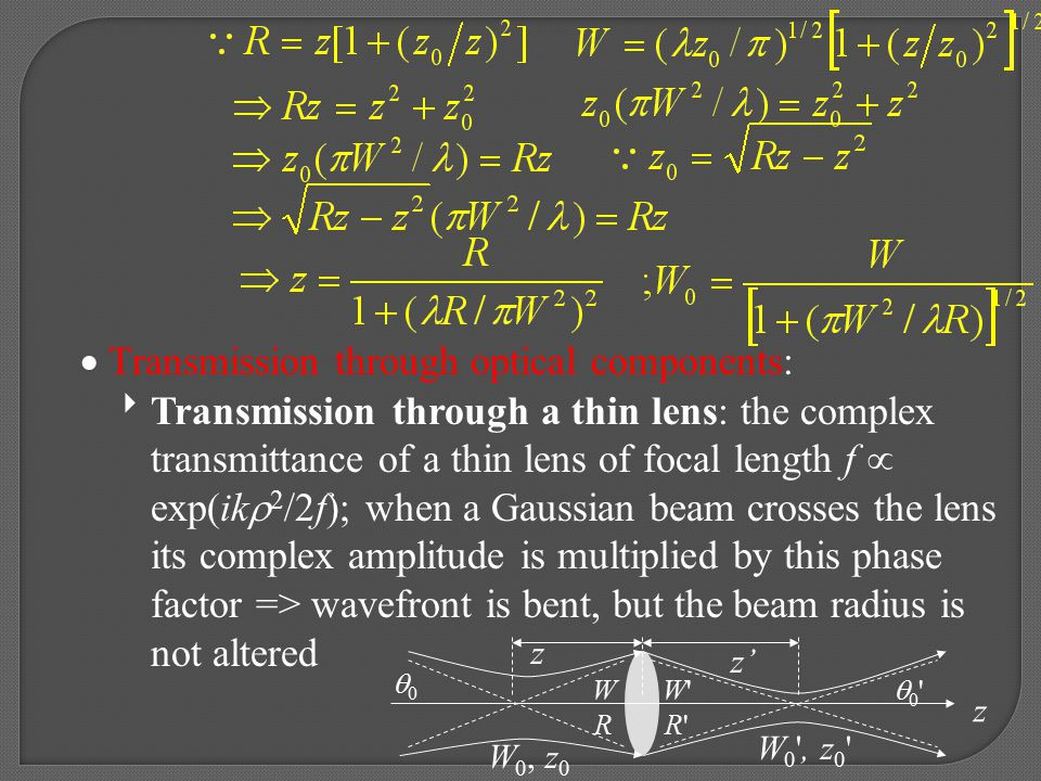  Transmission through optical components: