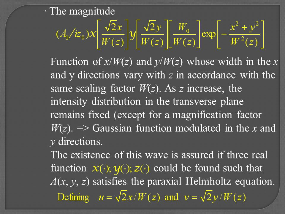 · The magnitude Function of x/W(z) and y/W(z) whose width in the x. and y directions vary with z in accordance with the.