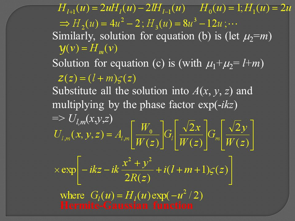 Similarly, solution for equation (b) is (let 2=m)