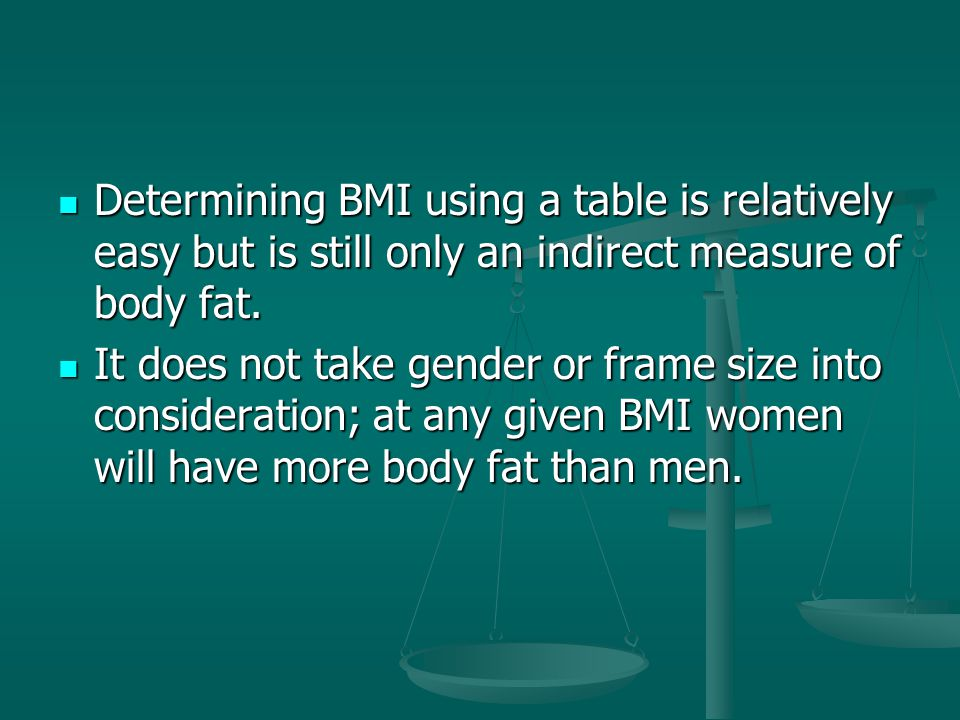 Determining BMI using a table is relatively easy but is still only an indirect measure of body fat.